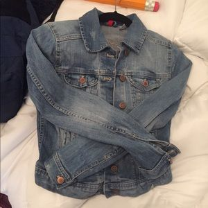 Denim jacket with rose gold buttons